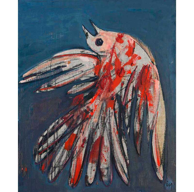 Oiseau, peinture de Ismail Yildirim, photo © Philippe CIbille